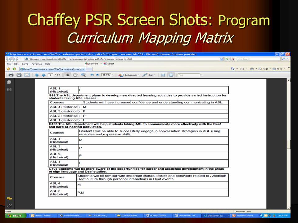 Chaffey PSR Screen Shots: Program Curriculum Mapping Matrix