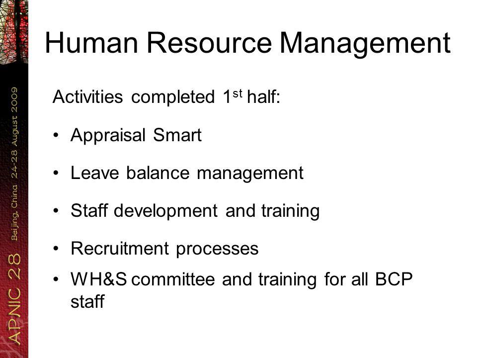 Human Resource Management Activities completed 1 st half: Appraisal Smart Leave balance management Staff development and training Recruitment processe