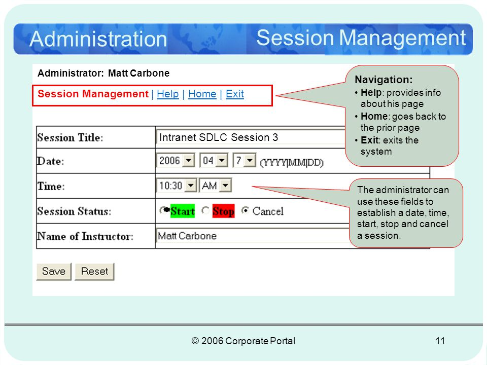 © 2006 Corporate Portal11 Administration Session Management Session Management | Help | Home | Exit Intranet SDLC Session 3 Navigation: Help: provides info about his page Home: goes back to the prior page Exit: exits the system Administrator: Matt Carbone The administrator can use these fields to establish a date, time, start, stop and cancel a session.