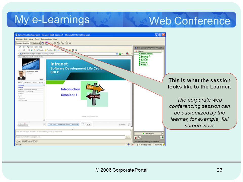 © 2006 Corporate Portal23 My e-Learnings Web Conference This is what the session looks like to the Learner.
