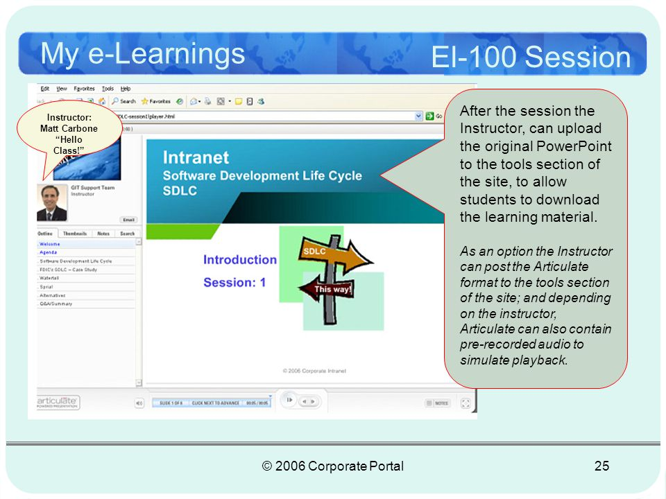 © 2006 Corporate Portal25 My e-Learnings El-100 Session 3 5 Instructor: Matt Carbone Hello Class.