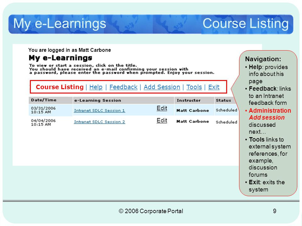 © 2006 Corporate Portal9 My e-Learnings Course Listing Course Listing | Help | Feedback | Add Session | Tools | Exit Edit You are logged in as Matt Carbone Navigation: Help: provides info about his page Feedback: links to an Intranet feedback form Administration Add session discussed next… Tools links to external system references, for example, discussion forums Exit: exits the system