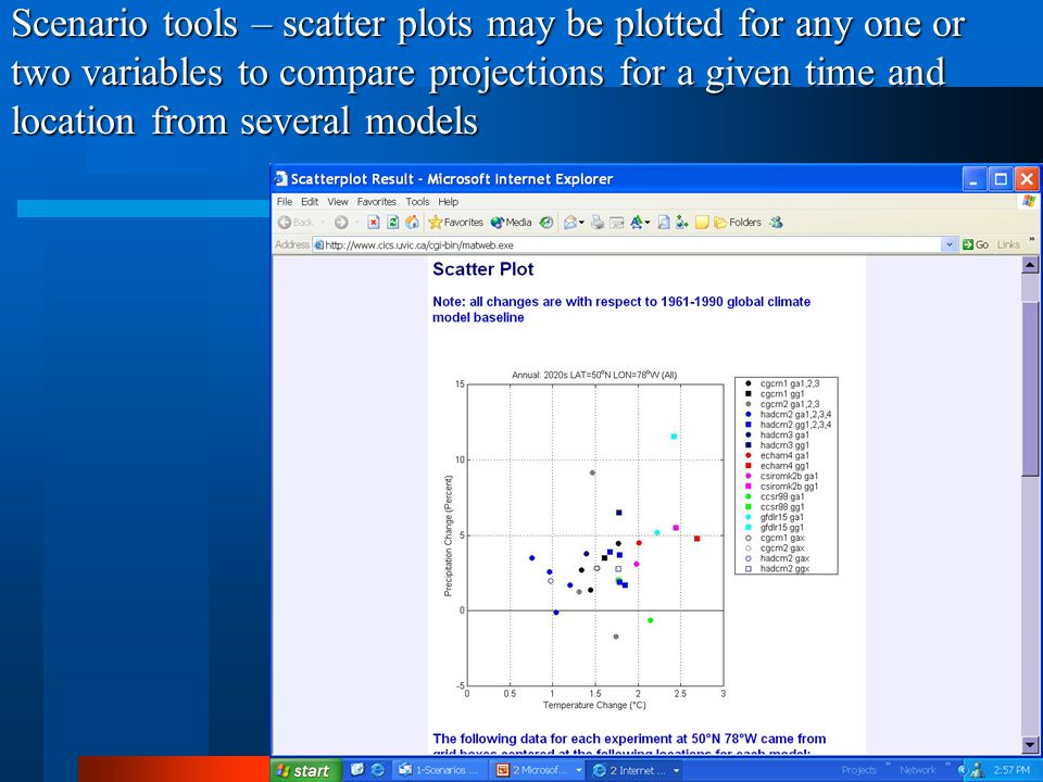 Scenario tools – scatter plots may be plotted for any one or two variables to compare projections for a given time and location from several models