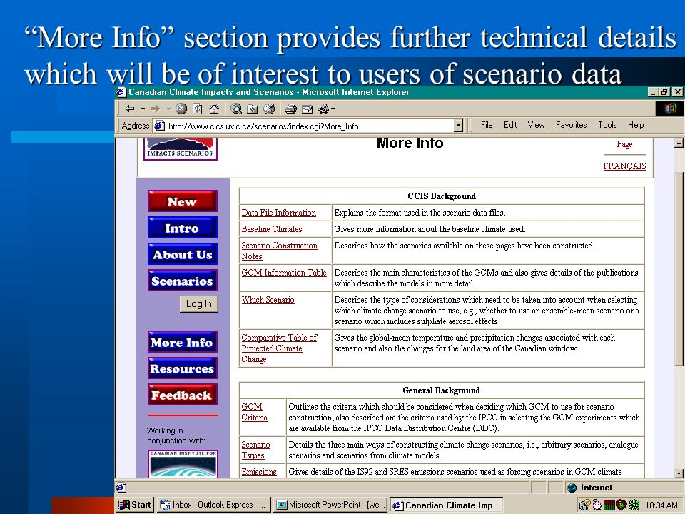 More Info section provides further technical details which will be of interest to users of scenario data