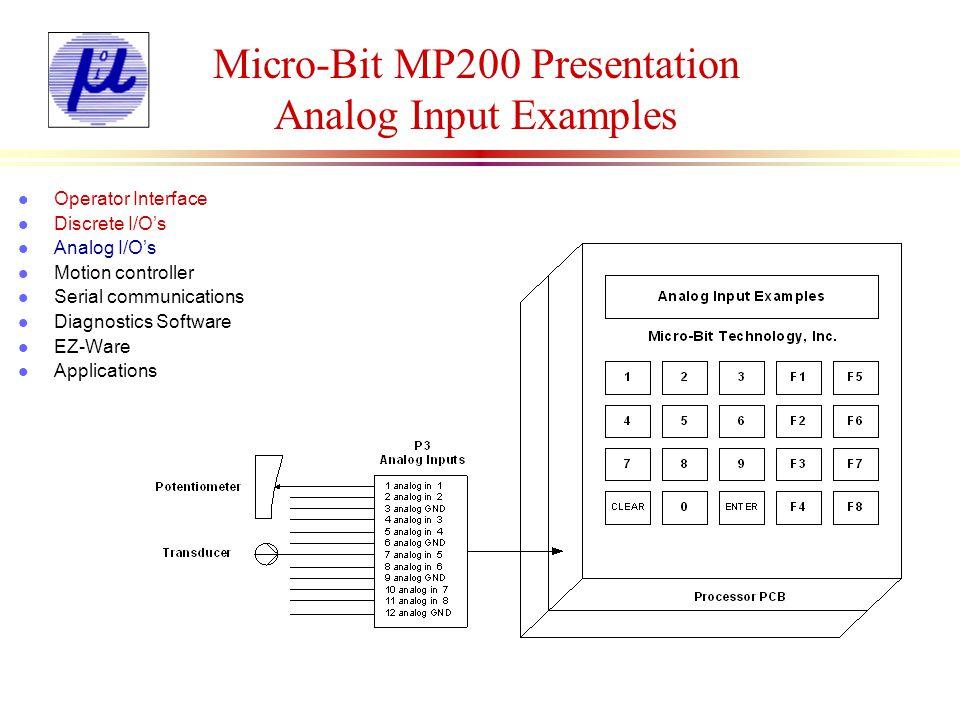 Micro-Bit MP200 Presentation Analog Input Examples l Operator Interface l Discrete I/Os l Analog I/Os l Motion controller l Serial communications l Di