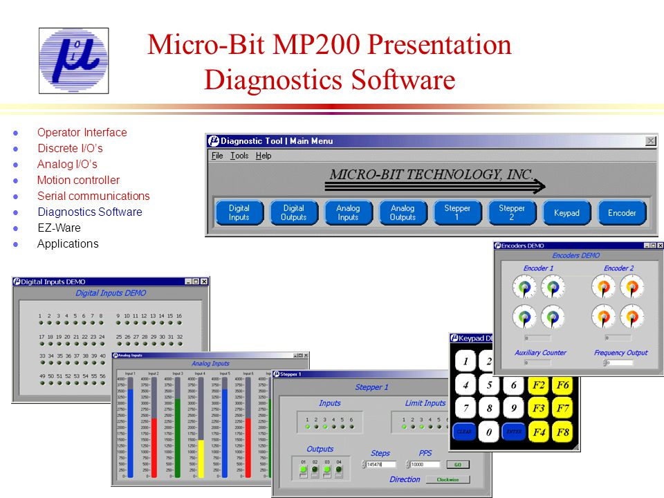 Micro-Bit MP200 Presentation Diagnostics Software l Operator Interface l Discrete I/Os l Analog I/Os l Motion controller l Serial communications l Dia