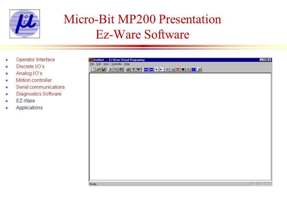 Micro-Bit MP200 Presentation Ez-Ware Software l Operator Interface l Discrete I/Os l Analog I/Os l Motion controller l Serial communications l Diagnos