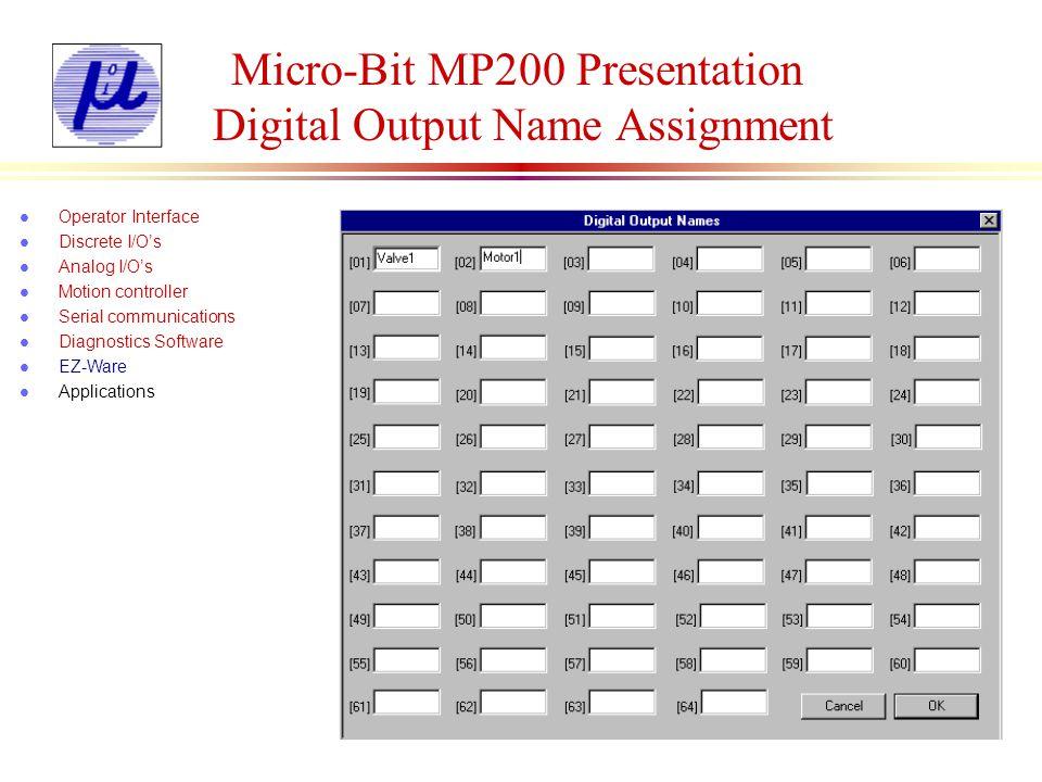 Micro-Bit MP200 Presentation Digital Output Name Assignment l Operator Interface l Discrete I/Os l Analog I/Os l Motion controller l Serial communicat