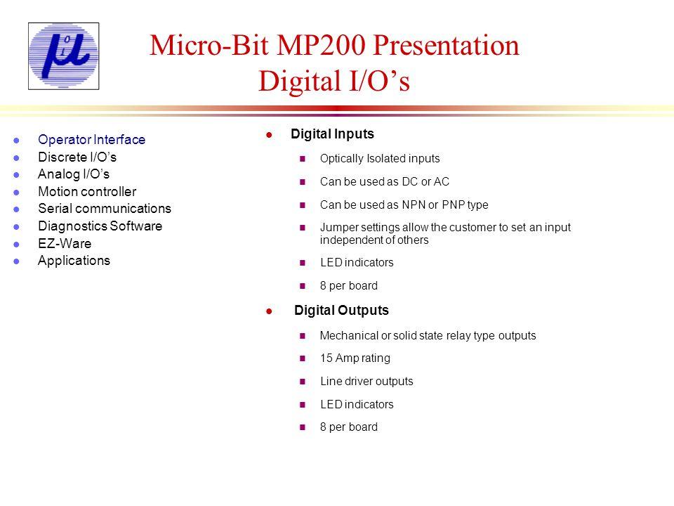 Micro-Bit MP200 Presentation Digital I/Os l Digital Inputs n Optically Isolated inputs n Can be used as DC or AC n Can be used as NPN or PNP type n Ju
