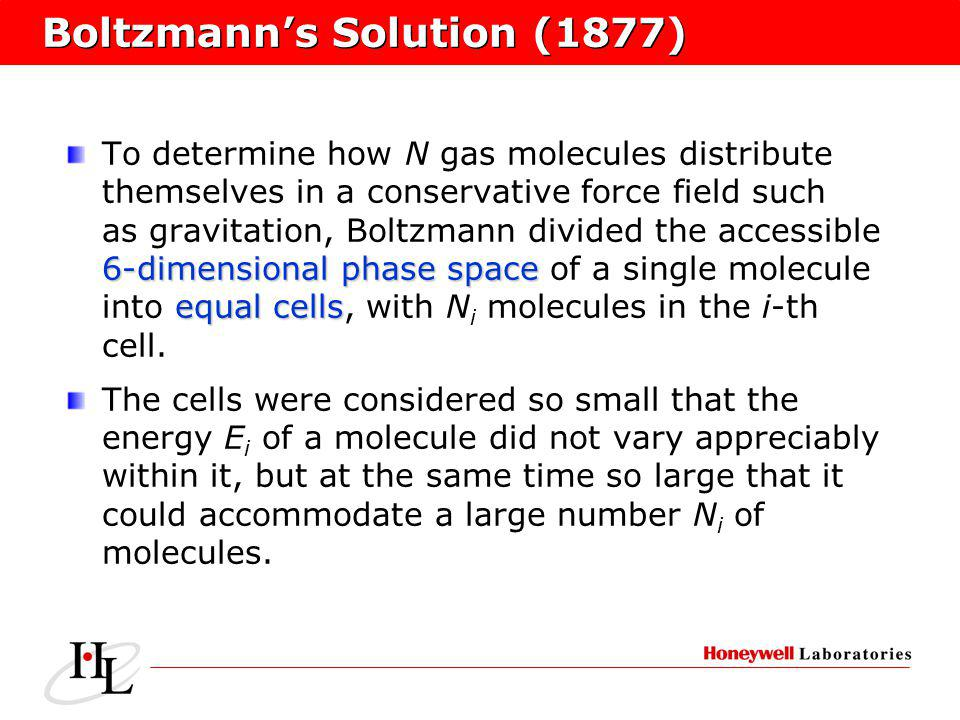 Boltzmanns Solution (1877) 6-dimensional phase space equal cells To determine how N gas molecules distribute themselves in a conservative force field