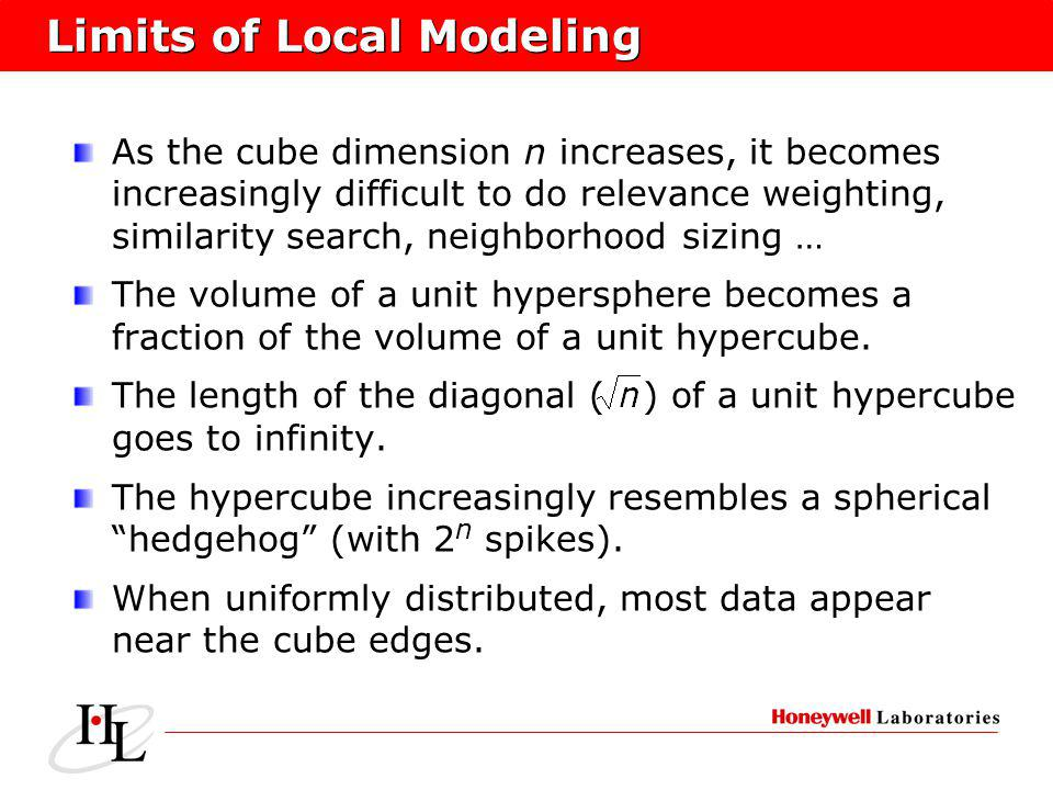 Limits of Local Modeling As the cube dimension n increases, it becomes increasingly difficult to do relevance weighting, similarity search, neighborho