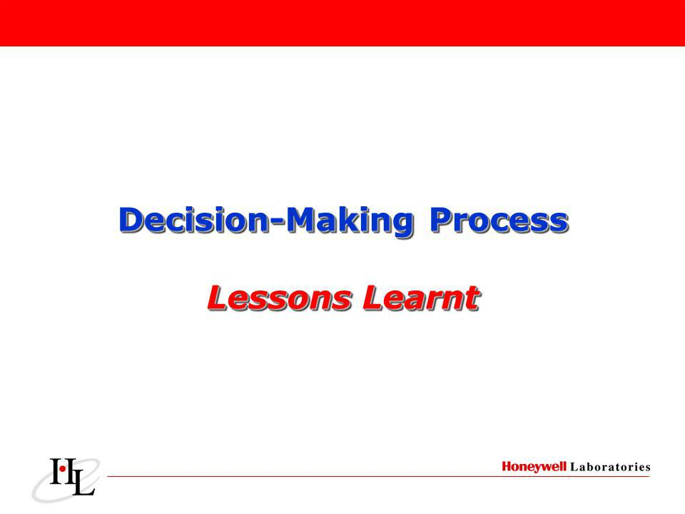 Decision-Making Process Lessons Learnt