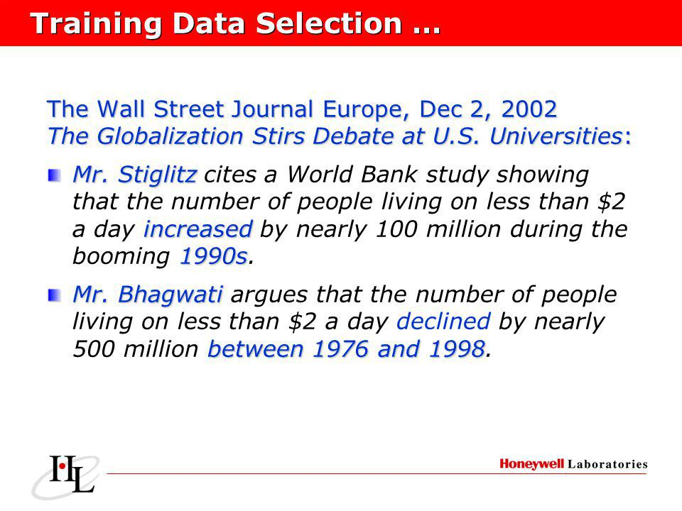 Training Data Selection … The Wall Street Journal Europe, Dec 2, 2002 The Globalization Stirs Debate at U.S.