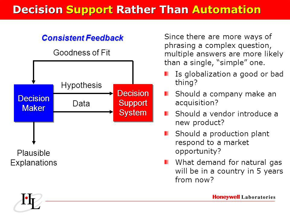Decision Support Rather Than Automation DecisionMakerDecisionMaker DecisionSupportSystemDecisionSupportSystem Hypothesis Data Goodness of Fit Plausible Explanations Since there are more ways of phrasing a complex question, multiple answers are more likely than a single, simple one.