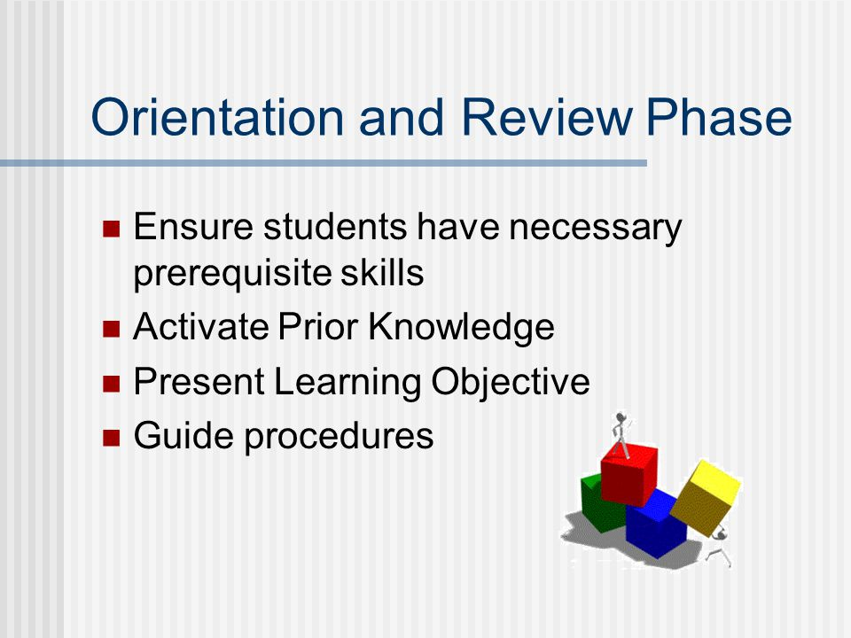 Orientation and Review Phase Ensure students have necessary prerequisite skills Activate Prior Knowledge Present Learning Objective Guide procedures