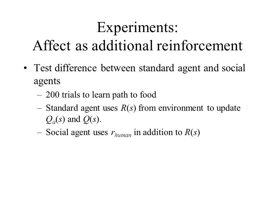 Experiments: Affect as additional reinforcement Test difference between standard agent and social agents –200 trials to learn path to food –Standard agent uses R(s) from environment to update Q a (s) and Q(s).