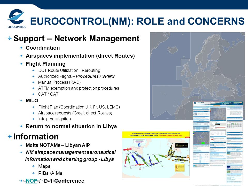 Network Disruptions Management 17 EUROCONTROL(NM): ROLE and CONCERNS Support – Network Management Coordination Airspaces implementation (direct Routes