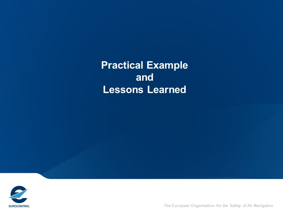 The European Organisation for the Safety of Air Navigation Practical Example and Lessons Learned