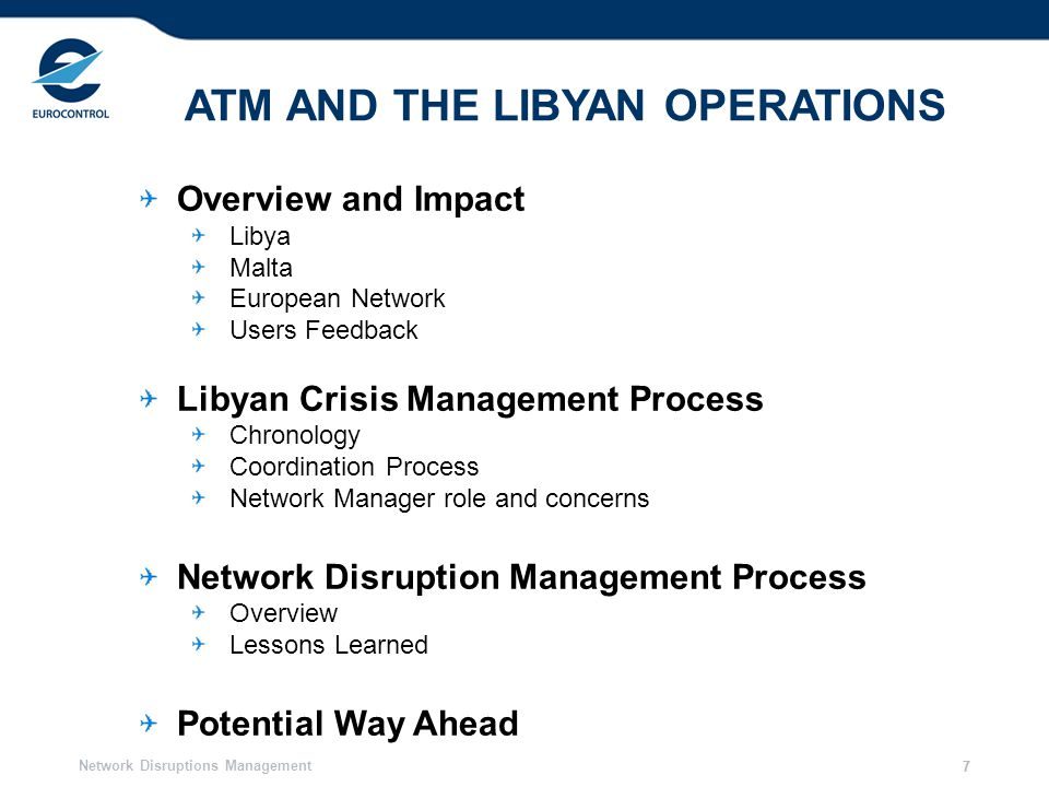 Network Disruptions Management 8 Concern: No Fly Zone covering only a part of Libyan FIR 8 LIBYA – Airspace Closure October 2010 March 2011