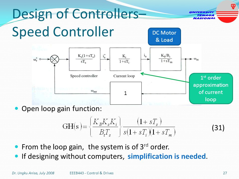 Open loop gain function: (31) From the loop gain, the system is of 3 rd order. If designing without computers, simplification is needed. 1 Design of C
