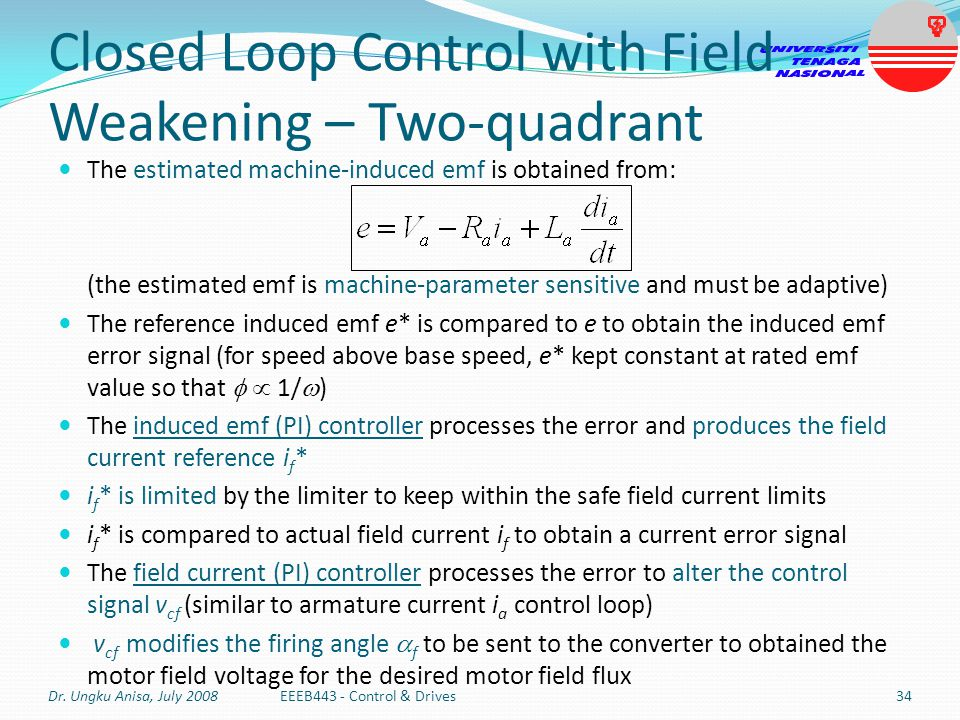 Closed Loop Control with Field Weakening – Two-quadrant The estimated machine-induced emf is obtained from: (the estimated emf is machine-parameter se