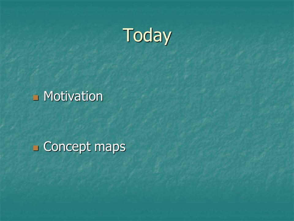 Today Motivation Motivation Concept maps Concept maps