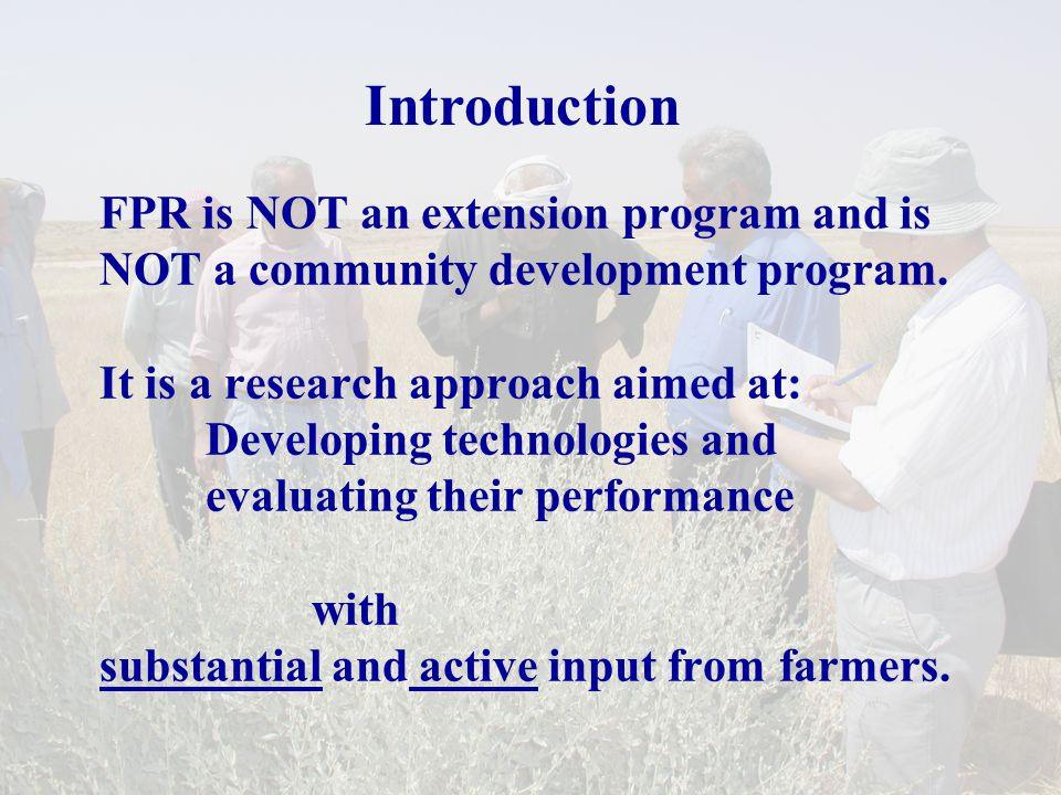 Participatory poverty assessment/wealth ranking Develop farmers own criteria on poverty and well- being indicators Solicit farmers assessment of relative poverty levels of different households and determining factors Identify farmers priorities for improving their well- being