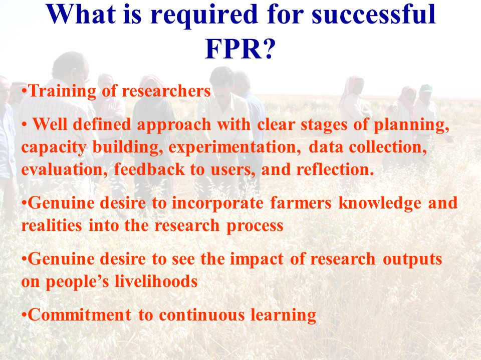 What is required for successful FPR.