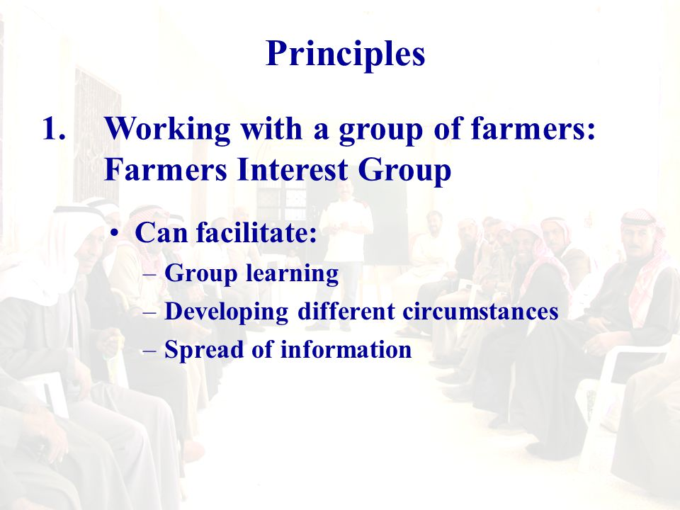 Farmer Interest Groups Can facilitate: –Group learning through farmer-to-farmer exchange –Developing different circumstances (based on different farmers strategies and experiences) –Speedy diffusion of information(extension element) Needs: - good facilitation - clear learning program Its drawback is the cost