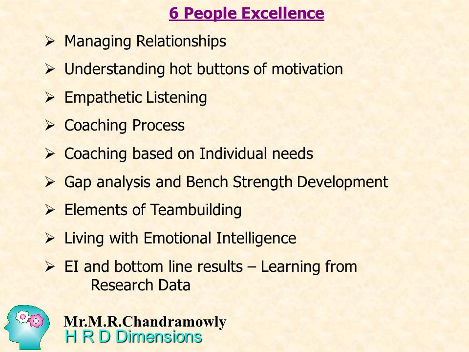 6 People Excellence Managing Relationships Understanding hot buttons of motivation Empathetic Listening Coaching Process Coaching based on Individual