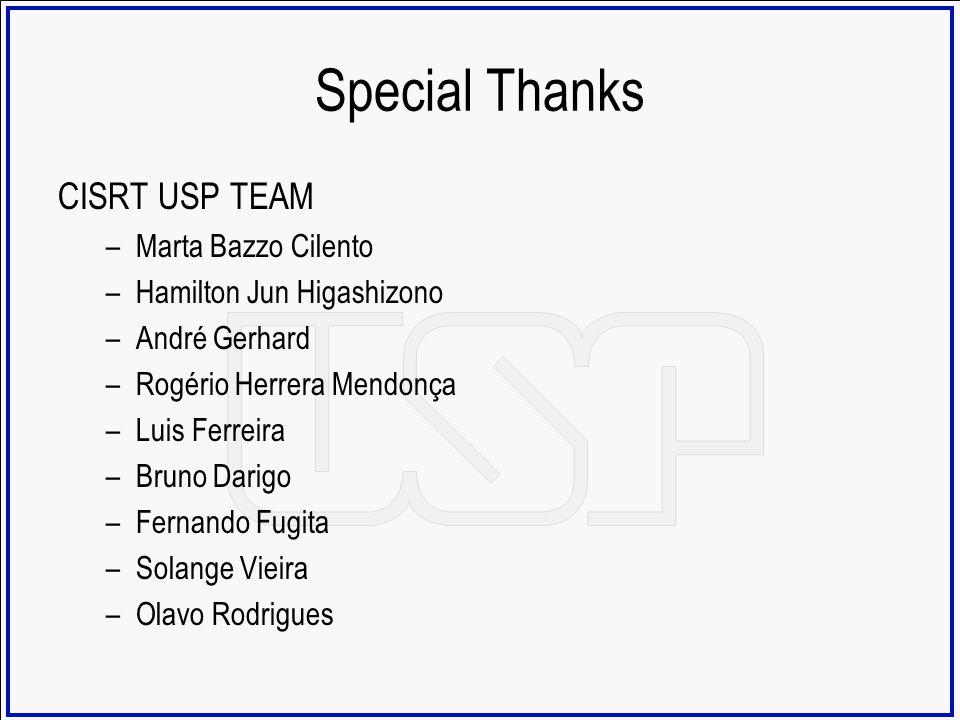 Special Thanks CISRT USP TEAM –Marta Bazzo Cilento –Hamilton Jun Higashizono –André Gerhard –Rogério Herrera Mendonça –Luis Ferreira –Bruno Darigo –Fe