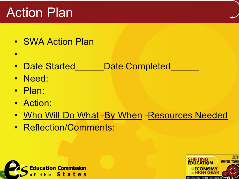 Action Plan SWA Action Plan Date Started______Date Completed______ Need: Plan: Action: Who Will Do What -By When -Resources Needed Reflection/Comments: