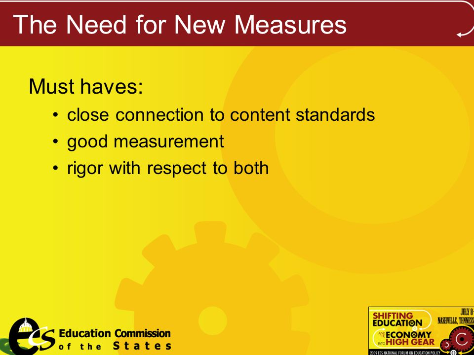The Need for New Measures Must haves: close connection to content standards good measurement rigor with respect to both