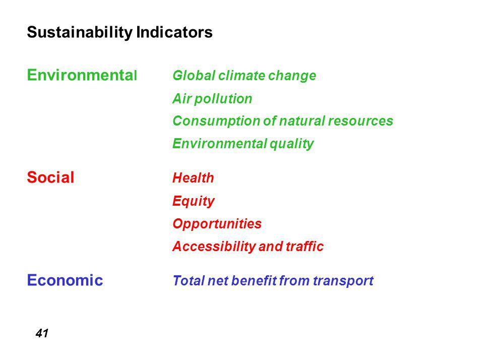 41 Sustainability Indicators Environmenta lGlobal climate change Air pollution Consumption of natural resources Environmental quality Social Health Equity Opportunities Accessibility and traffic Economic Total net benefit from transport