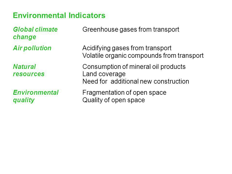 42 Environmental Indicators Global climateGreenhouse gases from transport change Air pollutionAcidifying gases from transport Volatile organic compounds from transport Natural Consumption of mineral oil products resourcesLand coverage Need for additional new construction EnvironmentalFragmentation of open space qualityQuality of open space