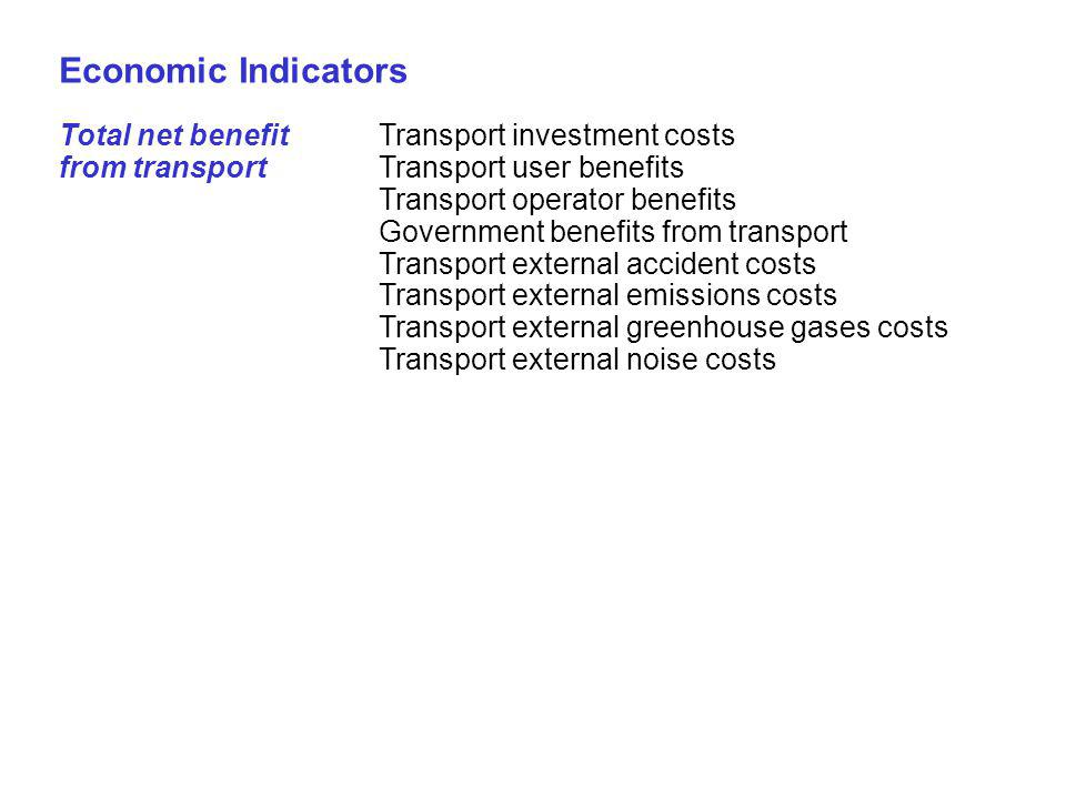 44 Economic Indicators Total net benefitTransport investment costs from transportTransport user benefits Transport operator benefits Government benefits from transport Transport external accident costs Transport external emissions costs Transport external greenhouse gases costs Transport external noise costs