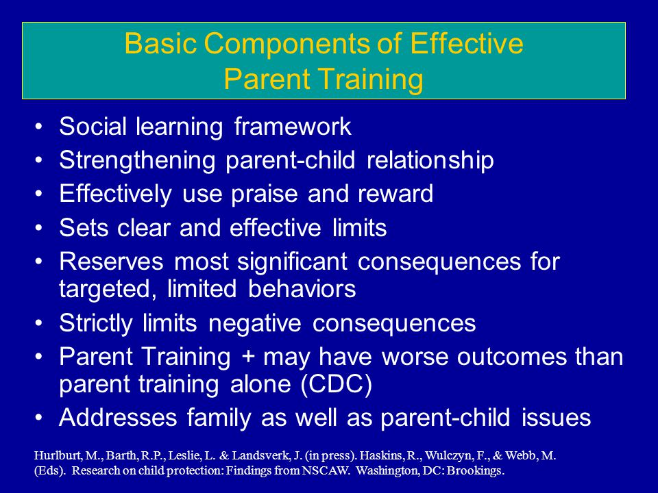Basic Components of Effective Parent Training Social learning framework Strengthening parent-child relationship Effectively use praise and reward Sets