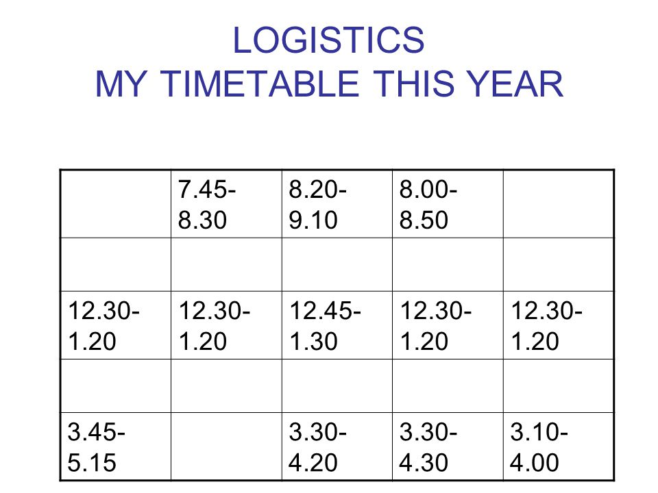 LOGISTICS MY TIMETABLE THIS YEAR 7.45- 8.30 8.20- 9.10 8.00- 8.50 12.30- 1.20 12.45- 1.30 12.30- 1.20 3.45- 5.15 3.30- 4.20 3.30- 4.30 3.10- 4.00