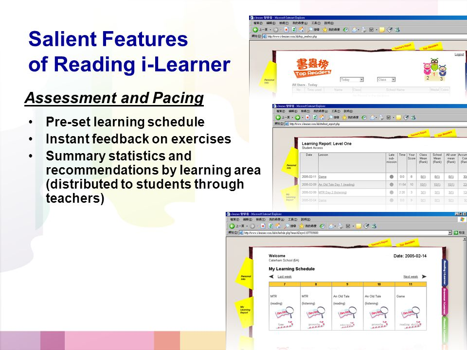 Assessment and Pacing Salient Features of Reading i-Learner Pre-set learning schedule Instant feedback on exercises Summary statistics and recommendations by learning area (distributed to students through teachers)