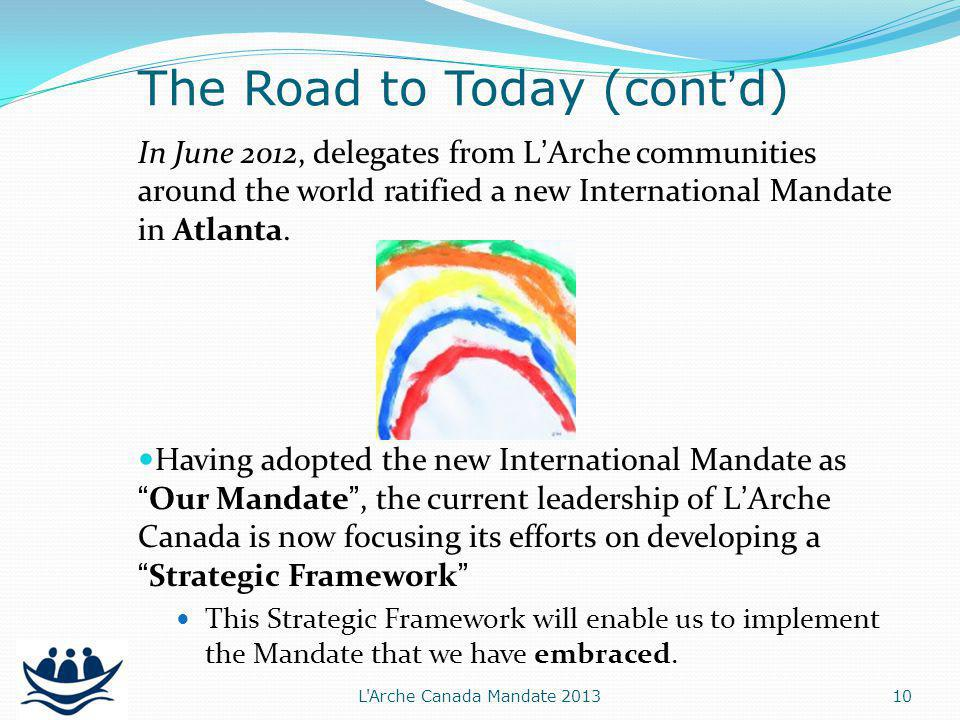In June 2012, delegates from LArche communities around the world ratified a new International Mandate in Atlanta.