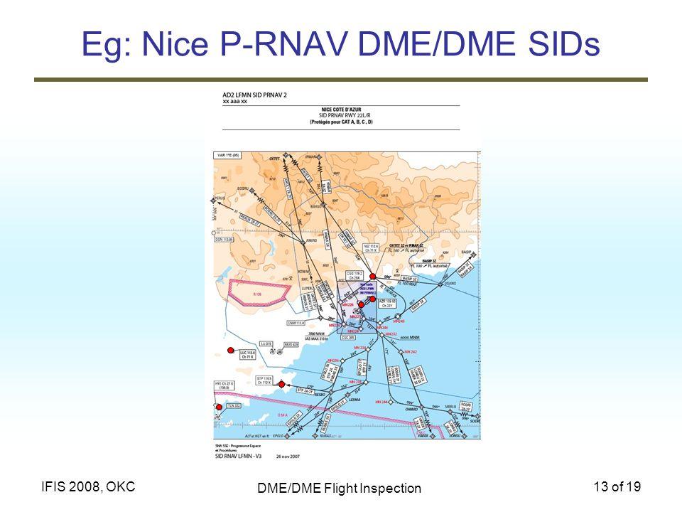 DME/DME Flight Inspection 13 of 19IFIS 2008, OKC Eg: Nice P-RNAV DME/DME SIDs