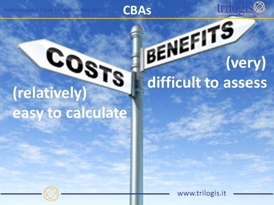 CBAs World Geospatial Forum – Rotterdam- May 2013 www.trilogis.it (relatively) easy to calculate (very) difficult to assess