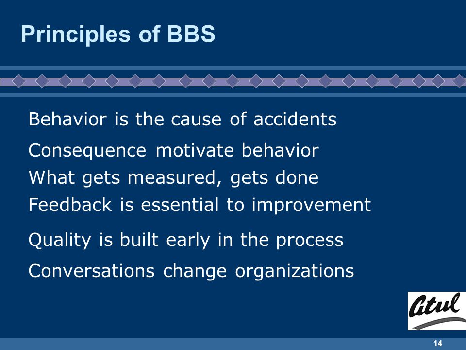 14 Principles of BBS Behavior is the cause of accidents Consequence motivate behavior What gets measured, gets done Feedback is essential to improvement Quality is built early in the process Conversations change organizations