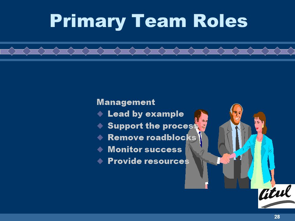 28 Primary Team Roles Management Lead by example Support the process Remove roadblocks Monitor success Provide resources