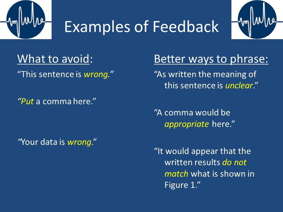 Examples of Feedback What to avoid: This sentence is wrong.