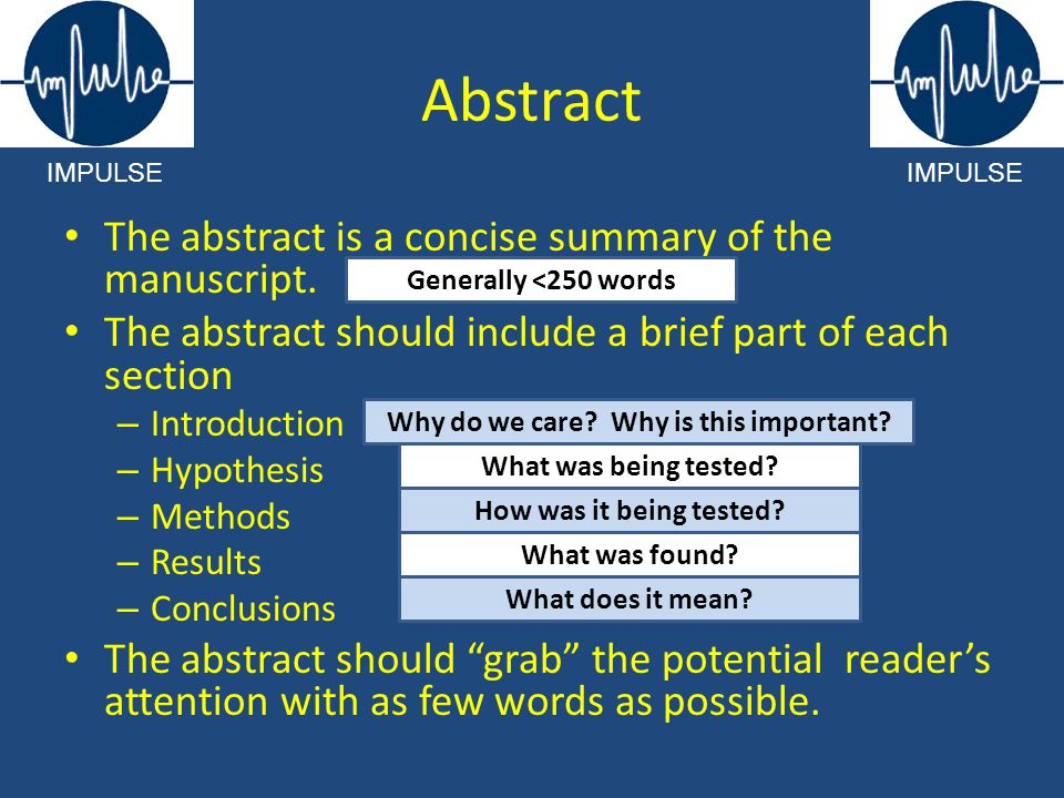 Abstract The abstract is a concise summary of the manuscript.