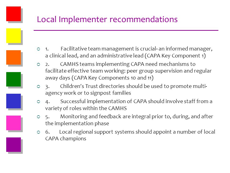 Local Implementer recommendations 1. Facilitative team management is crucial- an informed manager, a clinical lead, and an administrative lead (CAPA K