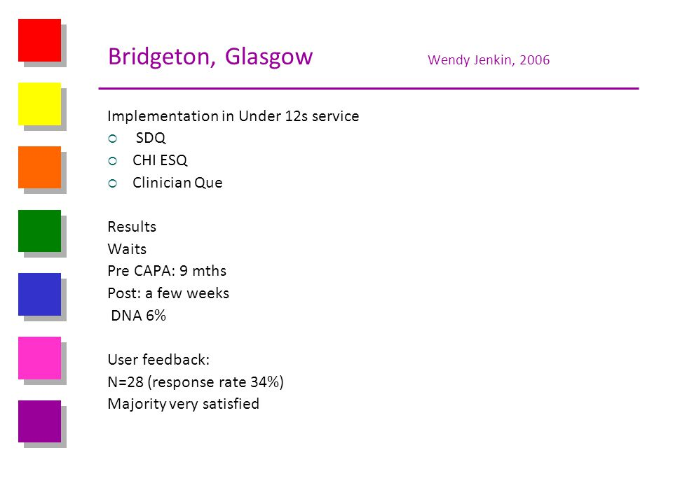 Bridgeton, Glasgow Wendy Jenkin, 2006 Implementation in Under 12s service SDQ CHI ESQ Clinician Que Results Waits Pre CAPA: 9 mths Post: a few weeks D