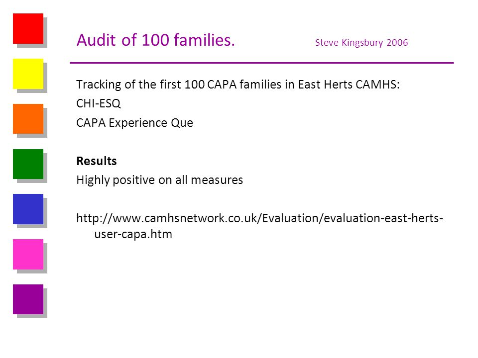 Audit of 100 families. Steve Kingsbury 2006 Tracking of the first 100 CAPA families in East Herts CAMHS: CHI-ESQ CAPA Experience Que Results Highly po