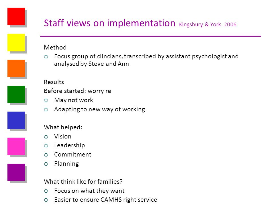 Staff views on implementation Kingsbury & York 2006 Method Focus group of clincians, transcribed by assistant psychologist and analysed by Steve and A